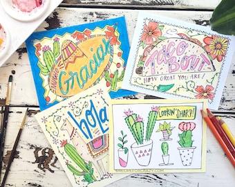 Coloring Postcard, fiesta coloring postcard set, handdrawn postcard