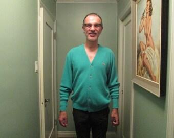 Vintage Izod Lacoste Men Cardigan Medium Large / Kelly Green Men Sweater