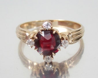 Antique Victorian Garnet and Old Mine Diamond Engagement Ring 14K