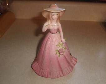 vintage josef originals girl figurine pink dress applied pink rose with sticker