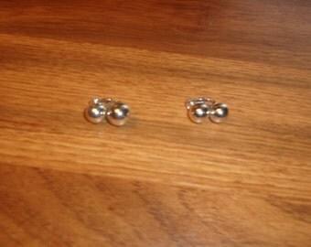 vintage clip on earrings double silvertone balls