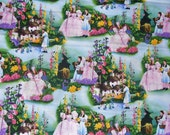 Wizard of Oz  Fabric,  Dorothy  and Toto, Munchkins and Glenda, Wicked Witch,  Over the Rainbow, Collage Style