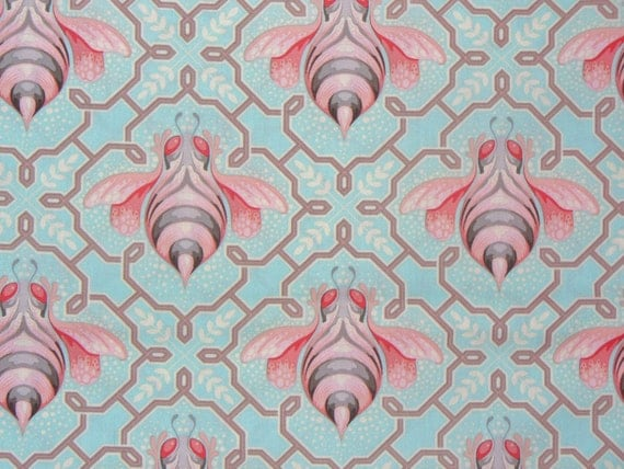 Tula Pink Fabric,  Bumblebee Collection, Jade and Pink,  Free Spirit, By the Yard