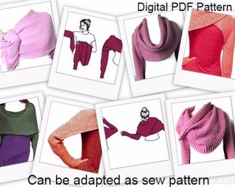 Basic Shrug Cowl Sciarpone Scarf With Sleeves PDF Knitting Pattern Can Be Adapted as Sewing Pattern Is not a finished product.