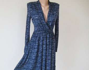 Vintage navy blue tricot dress, long sleeve midi dress, womens viscose unlined dress, S 6 US 8 UK
