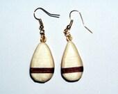 Tear drop earrings - purple and white wood