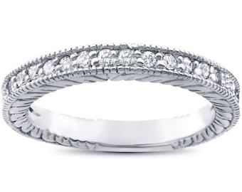 Diamond Wedding Ring, Vintage Diamond Wedding Ring, Antique Ring, Sackable Band Heirloom Diamond Wedding Ring Band Milgrain 14K White Gold