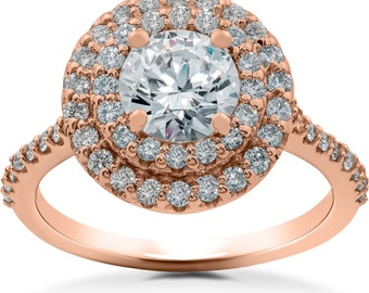 Rose Gold Diamond Engagement Ring 1 ct Double Halo Diamond Lab Created Engagement Ring 14k Rose Gold