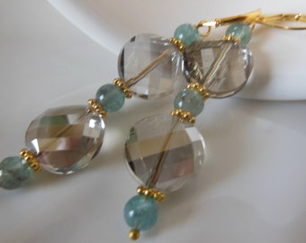 Smoky crystal quartz on blue dangle earrings  E523