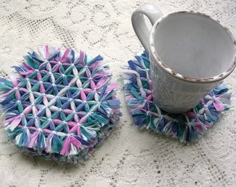 Drink Coasters - Patio Dining - Woven Coasters  - Hexagon Loom Coaster Set - Pastel Pink Blue Boho Decor