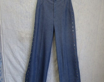 """70s 28"""" Studded Denim Look Polyester Knit Urban Cowgirl Elephant Bell Bottoms Pants Blue"""