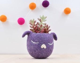 Dorm decor / Succulent planter / Dog lover gift for her / Cactus planter gifts / dog head planter / Small succulent pot / purple planter