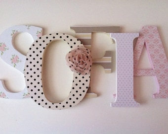 Wooden  letters for nursery in pink, tan, black and white. Matilda Jane inspired