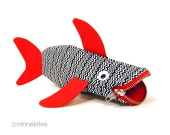 Kids Bag - Child Zipper Pouch - Red Shark Pencil Case - Planner Accessory - Office Gift Gag Gift - Kids Toy Bag - Pencil Bag - Ready to Ship