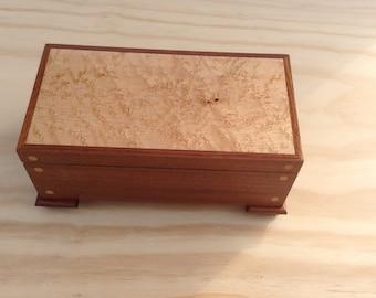 Wooden keepsake box, jewelry holder, stash box made from Sapele and Birdseye Maple