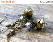 FLASH SALE Secret Dew Drop // Czech Fire Polished Glass and Antiqued Brass Dangle Earrings // Beaded Earrings // Faeries // Whimsical Jewelr