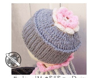 Ribbed hat with  Flower - Baby to Adult sizes - Instant Download Pdf