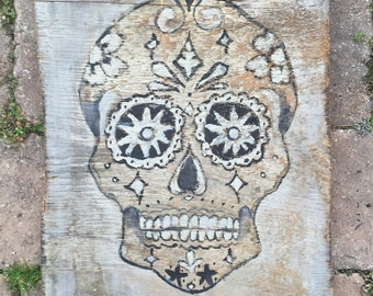 """large rustic decorative """"day of the dead"""" skull on reclaimed barn wood"""