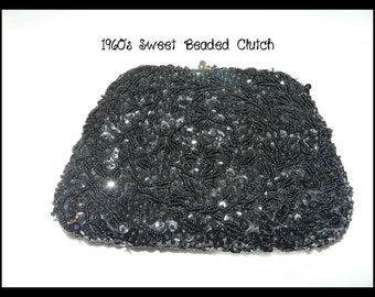 1960's Black Beaded Clutch Made in British Hong Kong