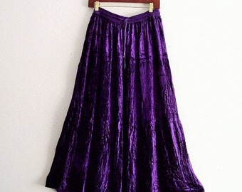 Gypsy Purple crushed Velvet Tiered Maxi Skirt