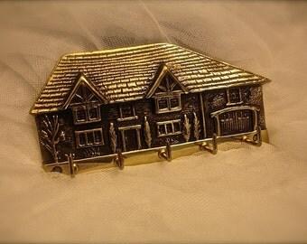 vintage brass key holder, brass key rack, wall key rack, Home Sweet Home