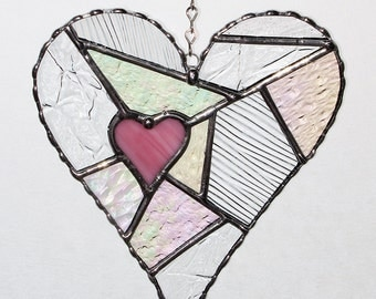 Stained Glass Suncatcher - Love, Pink Heart Abstract with Clear Textured Glass, Valentine's Day Gift