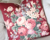 ON HOLD  Antique English Cabbage Rose Vintage Floral Fabric Custom Decorative Throw Pillow