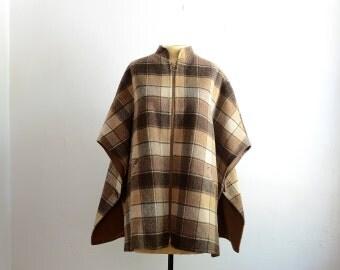 Vintage 70s Plaid Wool Blanket Poncho