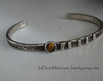 Sterling silver skinny cuff - tiger eye stone, reticulated, rustic, weathered, oxidized, original, one of a kind metalsmith bracelet
