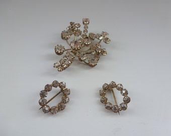 Vintage Triad Rhinestone Brooch with 2 Scatter Pins Sparkling Rhinestone Jewelry