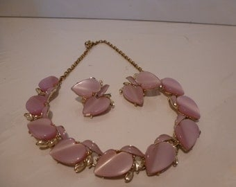 Vintage Thermoset Necklace and Earrings Set Pretty Gold Tone and Pink Thermoset Earrings and Necklace