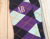 Navy, purple, Light Blue Mens Monogrammed Socks - Crew Length - groomsmen socks - Mens Christmas Gift - second anniversary