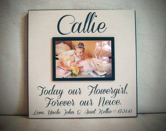 Flower Girl Thank You Gift, Today Our Flower Girl Forever Our Neice, 12x12 Bridal Party Gift, Personalized Flower Girl Gift