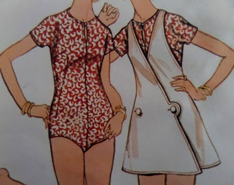"1960's Micro Mini Wrap Jumper & Bodysuit Pattern Butterick 5818 Miss 12 Bust 34"". Mod KIMONO SLEEVE BODYSUIT Pattern at WhiletheCatNaps"