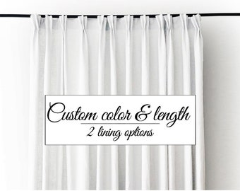 Curtain, pinch pleat curtains, Linen drapes, Blackout curtain, day curtain, lined window treatments, Custom color or white curtain panel