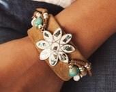 CBC-18, Repurposed vintage alpaca flower motif, shell and turquoise cuff bracelet