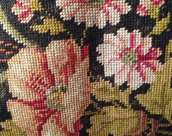 Vintage Tapestry Chair Needlepoint Roses Floral Needlepoint - Stool Needle Point