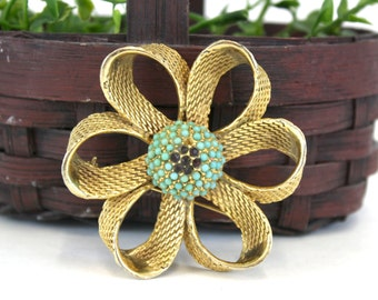 Vintage Goldtone Flower Brooch with Turquoise Center (E5240)