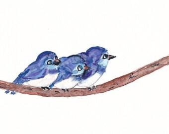Three Little Bluebirds Watercolor