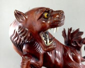 RESERVED           Vintage Chinese Tiger  CARVING - Cat Carving  - China Wood Carving - Oriental Decor. No.001597 cs