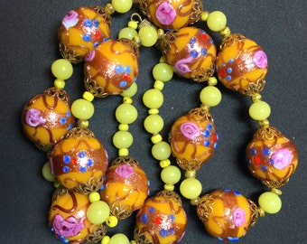 Italian WEDDING CAKE bead necklace. yellow venetian glass bead.  fiorato lampwork . multicolored. murano. No.00649 cs