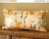 "ON SALE Boho Linen & recycled burlap ooak accent throw pillow case.  8"" x 16"" . / ETHNICS Moments. Bohemian rustic interior"