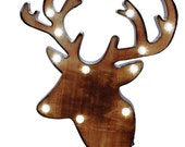 Deer Head LED MARQUEE SIGN Home Wall Decor Lights Timer Rustic Cabin Lodge Reindeer Antlers Retro bulbs Lighted Galvanized Steel Metal Wood