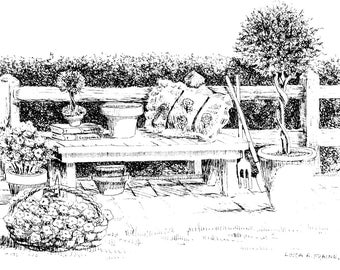 """Limited Edition Print of my Pen and Ink drawing of a  """"Country Garden Bench"""""""