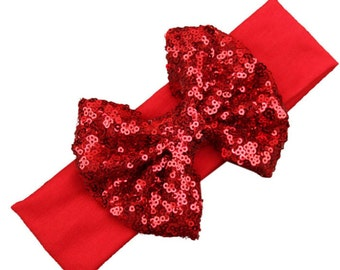 Red sequins hairbow headband Sparkly Bow Hair fabric knit stretch girls baby toddler party birthday photo shoot New