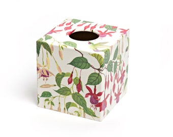 Pink Fuchsia Tissue Box Cover  wooden decoupaged made by hand