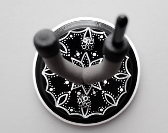 Pretty Black & White Instrument Wall Hanger Hook for Ukulele, Fiddle, Mandolin, Violin or Guitar - Ready to Ship