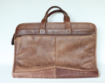 Vintage Brown Leather Heritage Briefcase Made in India