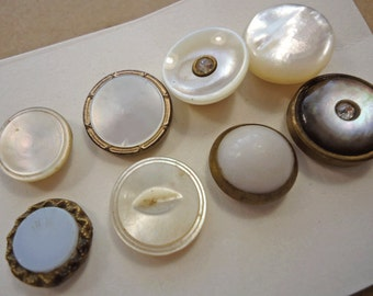 Small collection of white glass/pearl vintage/antique waistcoat buttons  (Ref P24)