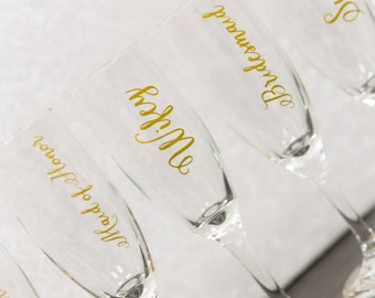 Wifey flute, Bride flute, Bridesmaid gift idea. Gold calligraphy font flutes. Wedding morning flutes, mimosa flutes, Maid of honor gift idea